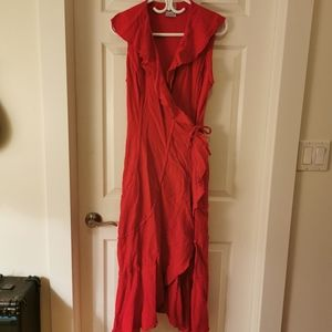 Red Cotton Wrap dress made in Mexico